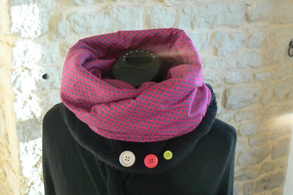 Snood rose à pois (5)
